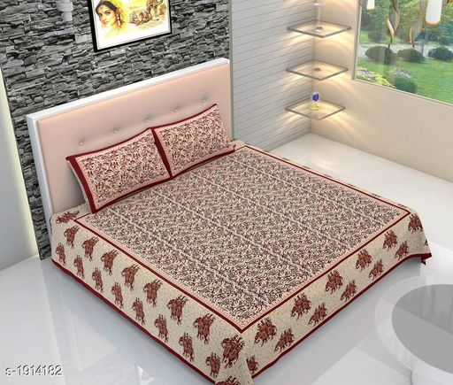 Home Attractive Cotton Printed Double Bedsheet