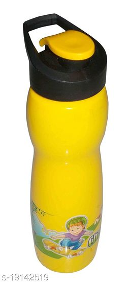 Kotak Sales Cartoon Water Bottle 600ML Flip N Drink Nozzle BPA-Free Food Grade Material for Juice Milk Home Office Event Christmas Decoration Perfect Return Gift for Kids Birthday Party (Yellow)