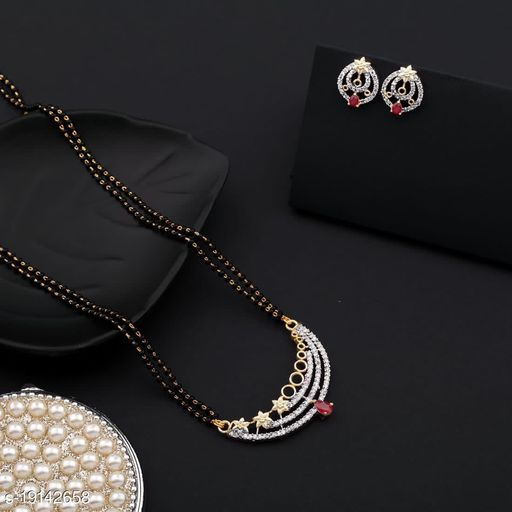 Trendy women Mangalsutra with Earrings