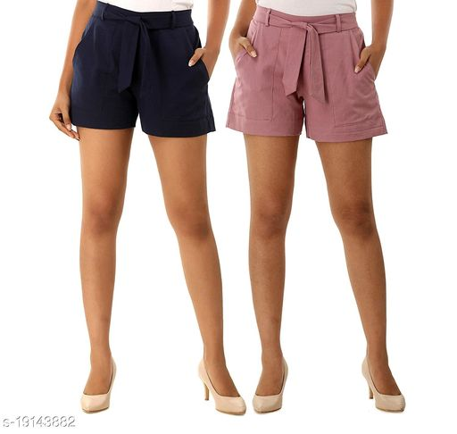 Aawari Set of 2 Cotton Shorts with Belt for Girls and Women Blue & Orchid