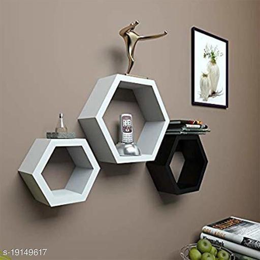 The Dreams Shop Hexagon Shape Wall Shelf for Living Room & Bed Room Set of 3 Floating Wall Shelves