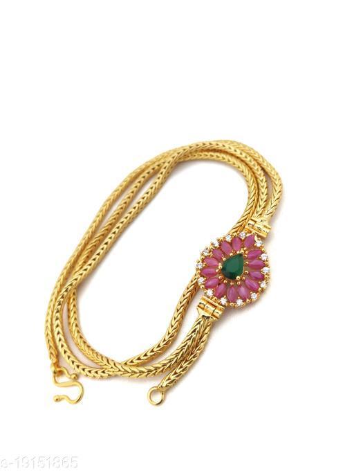 """Hanaa One Gram Gold Micro Plated Mugappu chain, 26"""" Inches Length Chain, Multicolour"""