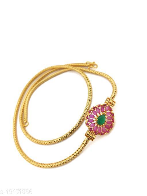 "Hanaa One Gram Gold Micro Plated Mugappu chain, 26"" Inches Length Chain, Green Pink"