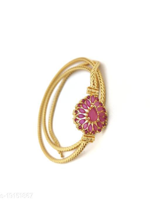 "Hanaa One Gram Gold Micro Plated Mugappu chain, 26"" Inches Length Chain, Pink"
