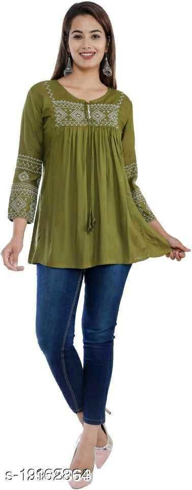 Gurmeet Fashion Mehndi Colored Tunic Top For Women with 3/4 Sleeves