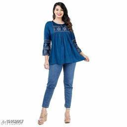 Gurmeet Fashion Rayon Fabric Light Blue Colored Tunic Top