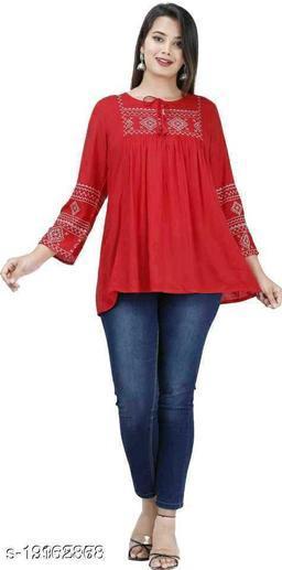 Gurmeet Fashion Rayon Fabric Red Colored Tunic Top