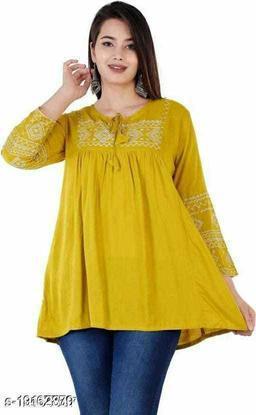 Gurmeet Fashion Rayon Fabric Yellow Colored Tunic Top