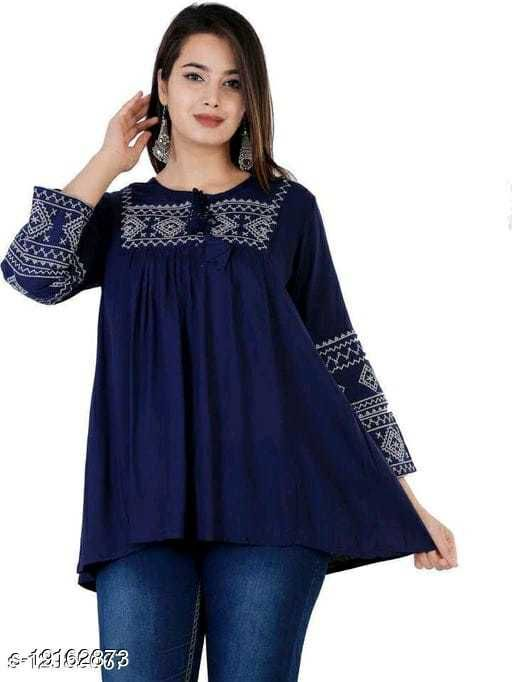 Gurmeet Fashion Rayon Fabric Blue Colored Tunic Top