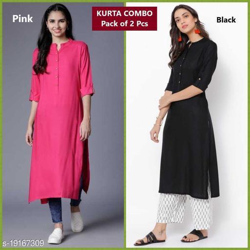 Women Plain Rayon Kurtis- COMBO Pack of 2 Pcs of Kurtis