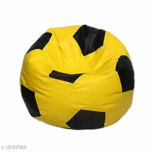 Kenji Leather Football Shape Bean Bag Cover Without Beans (XXL, Yellow and Black)