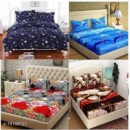 Indian Glace Cotton Double bedsheet 90x90 Pack of 4 Bedsheets With 8 Pillow Covers