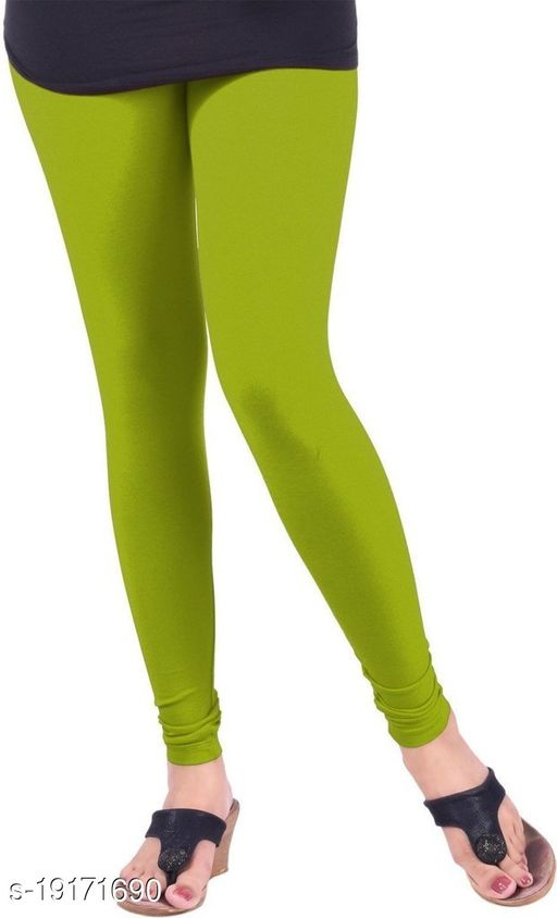 Dark parrot green - trendy latest Ultra Soft Cotton Churidar Solid Regular and Plus 45 Colours Leggings for Womens and Girls.100% cotton and 100% gaurantee.