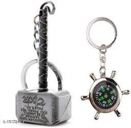 Advikavya Thor hammer metal and green compass key chain Key Chain