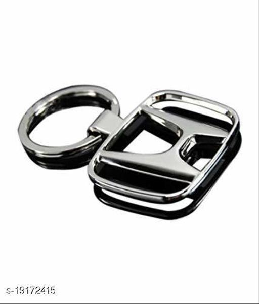 Advikavya Three Shades Honda Car Logo Silver Plated Dual Side Keychain