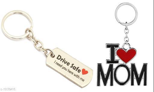Advikavya Small safe Drive and I Love MOM Combo Keychain (Pack of 2)