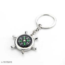 Advikavya Green Round Metal Compass Round Locking Key Chain  (Silver)