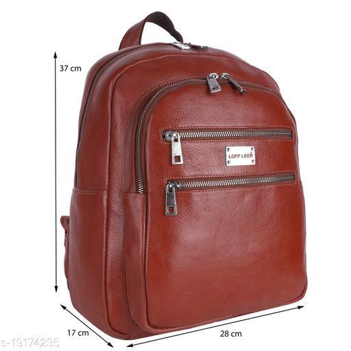 Lopp Leer 100% Pure Genuine Premium Ndm Leather Spacious Formal 20 Litre Backpack Laptop Office Bag