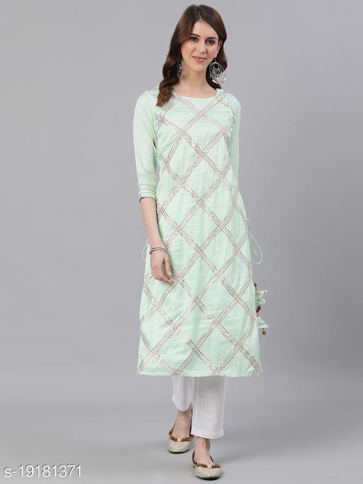 Jaipur Kurti Women Green Solid Straight Satin Kurta