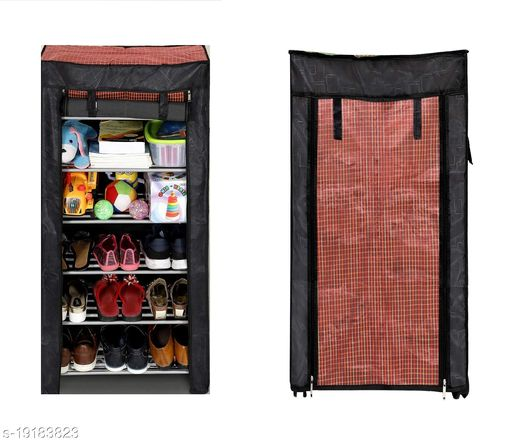 EVOHOME 6 Layer Multipurpose Portable Folding Shoe Rack Organizer with Cover for Home, Office, Kids Room with Nonwoven Fabric/Waterproof/Dustproof Cabinet Closet