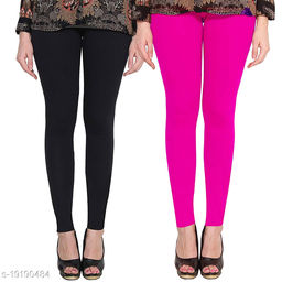 Lets Shine cotton lycra 160 GSM 4 way stretchable Ankle length Combo (pack of 2) leggings for females of free size (Black & Pink)