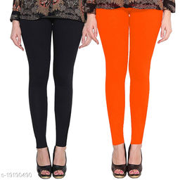 Lets Shine cotton lycra 160 GSM 4 way stretchable Ankle length Combo (pack of 2) leggings for females of free size (Black & Orange)