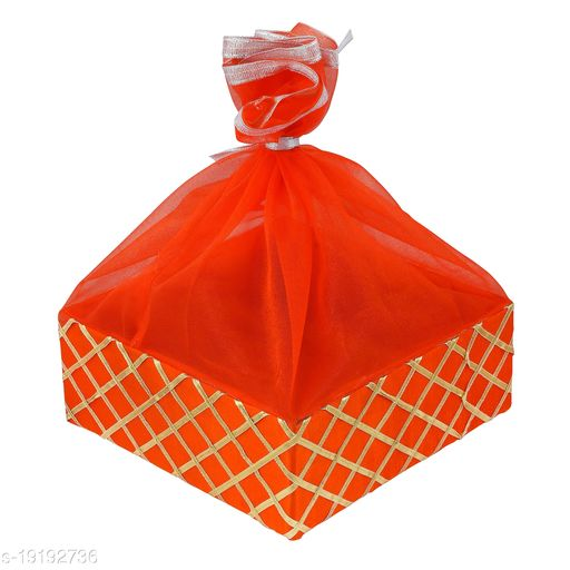 GROWNEX Wedding Gift Hamper Basket, Room Basket, Baby Shower Gifting, Color - RANI PINK (Size- 12 x 12 x 3 Inches)