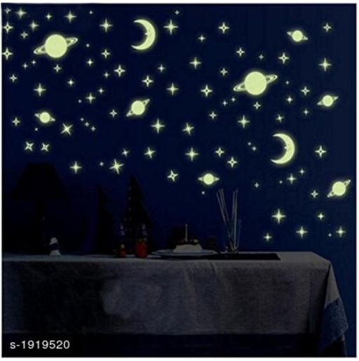 Wall1ders Green Color Fluorescent Night Glow In The Dark Star Wall Sticker (Pack Of 134 Stars Big And Small) Radium Stickers