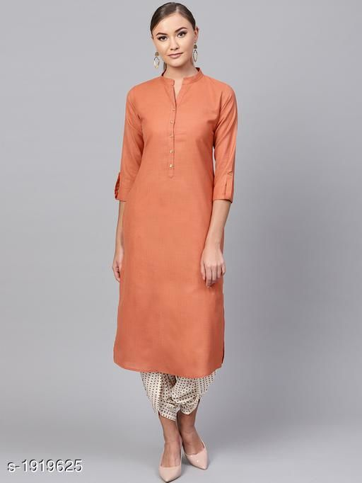 Kurtis & Kurtas Women's Solid Cotton Kurti Fabric: Cotton Sleeves: 3/4 Sleeves Are Included   Size:XS - 34 in, S - 36 in, M - 38 in, L- 40 in, XL- 42 in, XXL - 44 in Length: Up To 44 in Type: Stitched Description: It Has 1 Piece Of Women's Kurti Pattern : Solid Sizes Available: XS, S, M, L, XL, XXL *Proof of Safe Delivery! Click to know on Safety Standards of Delivery Partners- https://ltl.sh/y_nZrAV3   Catalog Name: Yashvi Adorable Women's Kurtis  CatalogID_253276 C74-SC1001 Code: 855-1919625-