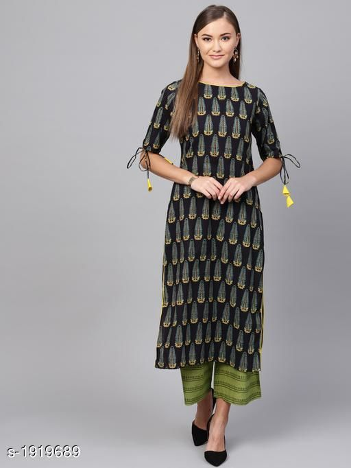Kurtis & Kurtas Women's Printed Black Cotton Kurti Fabric: Cotton Sleeves:  Sleeves Are Included   Size : XS - 34 in, S - 36 in, M - 38 in, L- 40 in, XL- 42 in, XXL - 44 in Length: Up To 44 in Type: Stitched Description: It Has 1 Piece Of Women's Kurti Work : Printed Sizes Available: XS, S, M, L, XL, XXL *Proof of Safe Delivery! Click to know on Safety Standards of Delivery Partners- https://ltl.sh/y_nZrAV3   Catalog Name: Yashvi Adorable Cotton Printed Women's Kurtis Vol 14 CatalogID_253302 C74-SC1001 Code: 057-1919689-