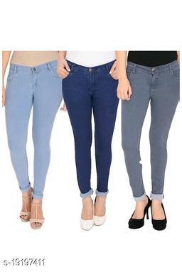 Ansh Fashion Wear Present Women's Very Stylish Regular Wear Stretchable Denim Jeans Pack of 3