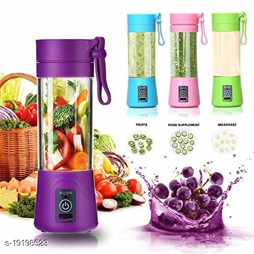 Portable Juicer Bottle Blender Wireless Rechargeable Juice Cup Mini Automatic Fruit Smoothie Cider Device (Multicolour)