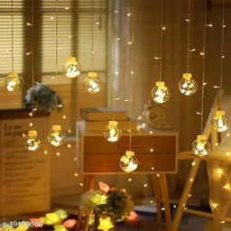 Tradehood (Warm White Wish Ball) Indoor Outdoor 12 LED Wish Ball String Curtain Lights with 8 Flashing Modes Christmas, Wedding, Party, Home, Garden, Shop, Diwali Decoration