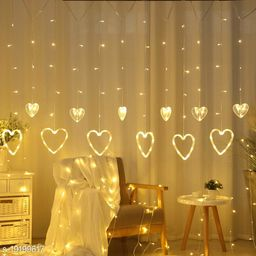Tradehood (Warm White Heart Curtain) Heart Curtain for Bedroom with 8 Lighting Modes, Waterproof Fairy Lights for Bedroom, Party, Christmas Decorations Lights