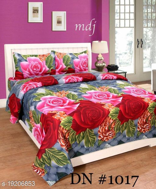 Trendy Glace Cotton Double Bedsheet with 2 Pillow Covers