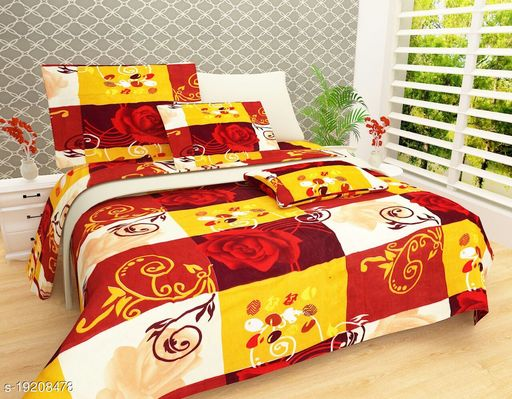 Raisa Indian Glace Cotton Double Bedsheet with 2 Pillow Covers