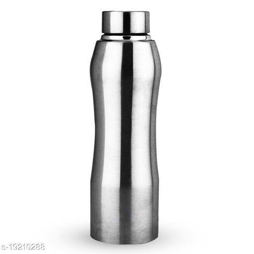 WIBSIL Curved Matt Finish 1000 ml Water Bottle  (Set of 1, Silver)