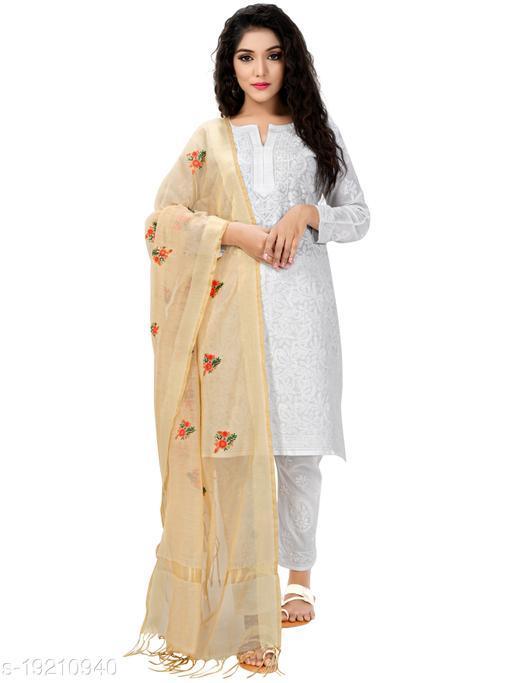 Fabric and Lace Beige Chanderi Silk Women's Dupatta