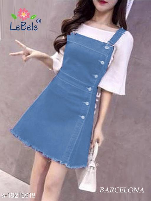 Wome DenimWestarn Pinafore Dress Single Piece Only