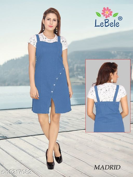 Wome Denim Pinafore Dress Only Single Piece