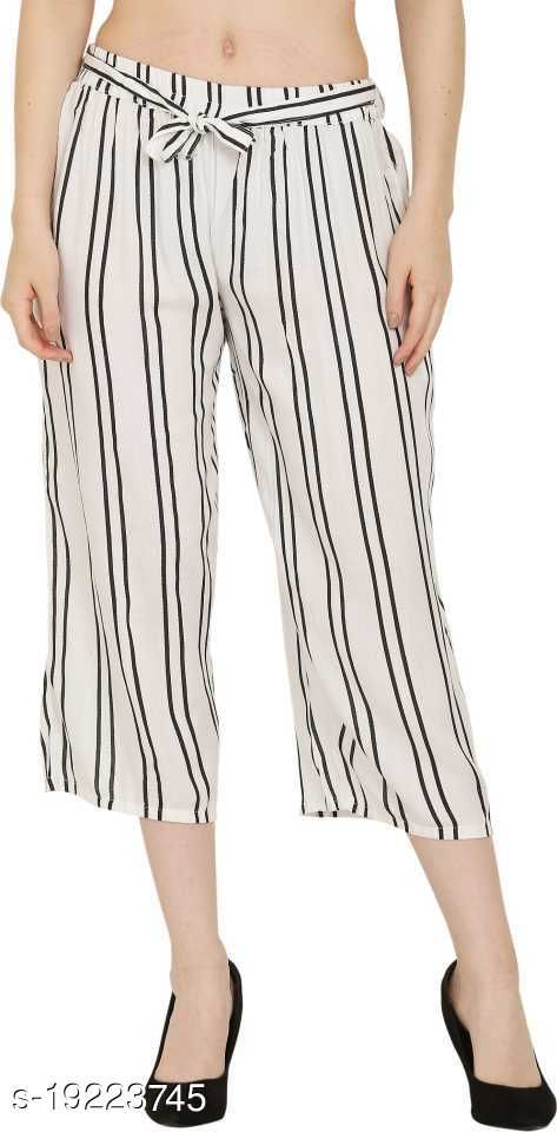 Pramarth Black Stripe White Color Capri