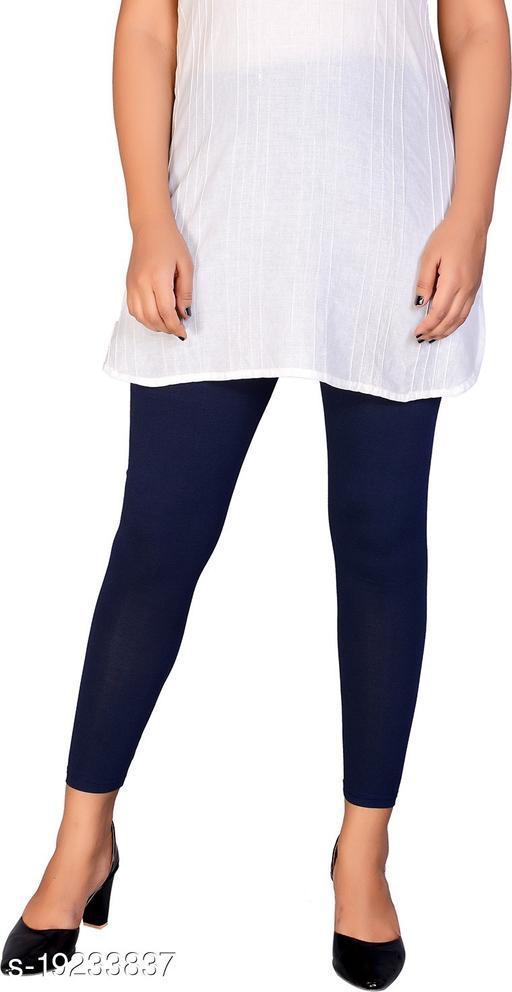 City Fashion Women's Solid NavyBlue Cotton Lycra Blend Ankle Length Leggings
