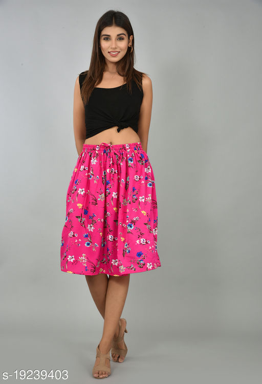 Girly Girls Printed Rayon Skirt (GSKTM101)