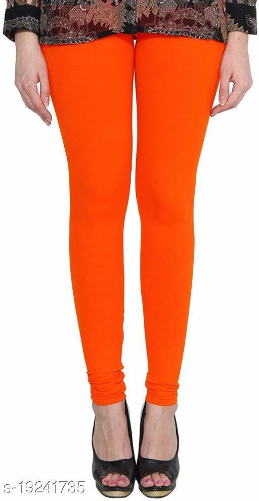 City Fashion Women's Solid Orange Cotton Lycra Blend Churidar Leggings (28 to 34)