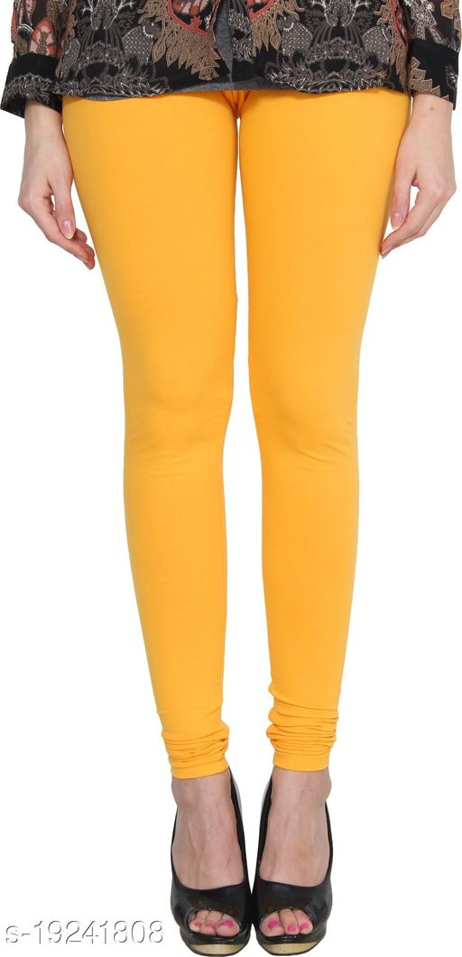 City Fashion Women's Solid Dark Yellow Cotton Lycra Blend Churidar Leggings (30 to 38)