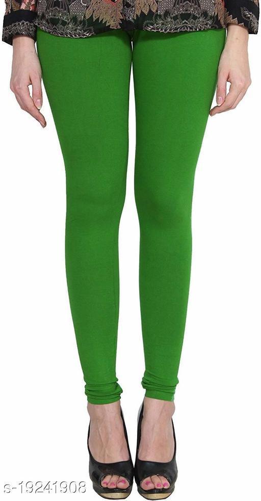 City Fashion Women's Solid Green Cotton Lycra Blend Churidar Leggings (30 to 38)