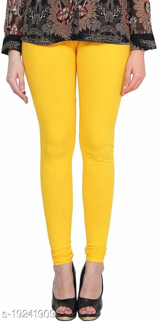 City Fashion Women's Solid Yellow Cotton Lycra Blend Churidar Leggings (30 to 38)