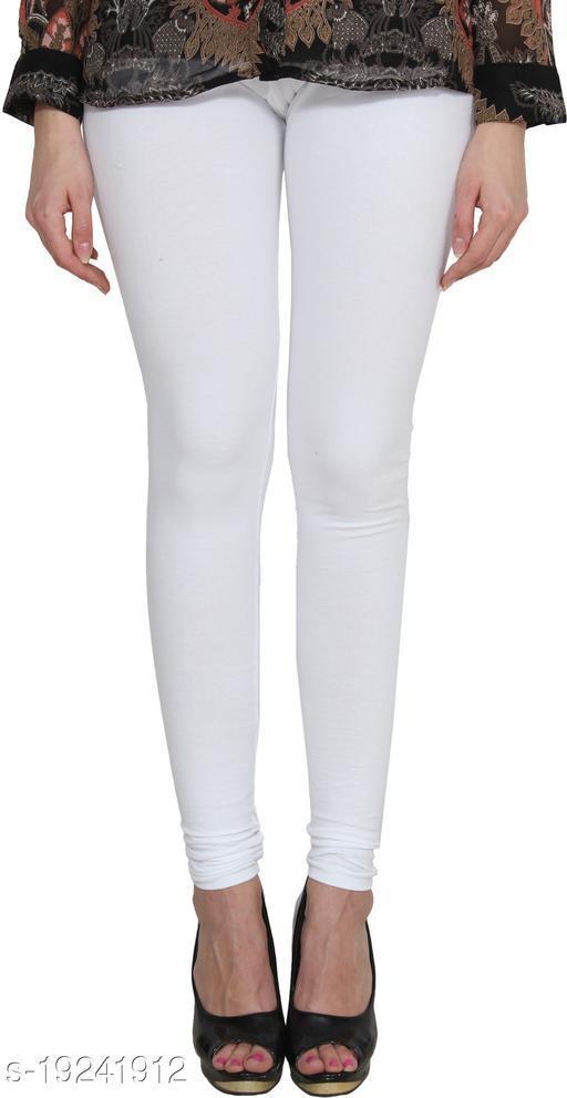 City Fashion Women's Solid White Cotton Lycra Blend Churidar Leggings (30 to 38)