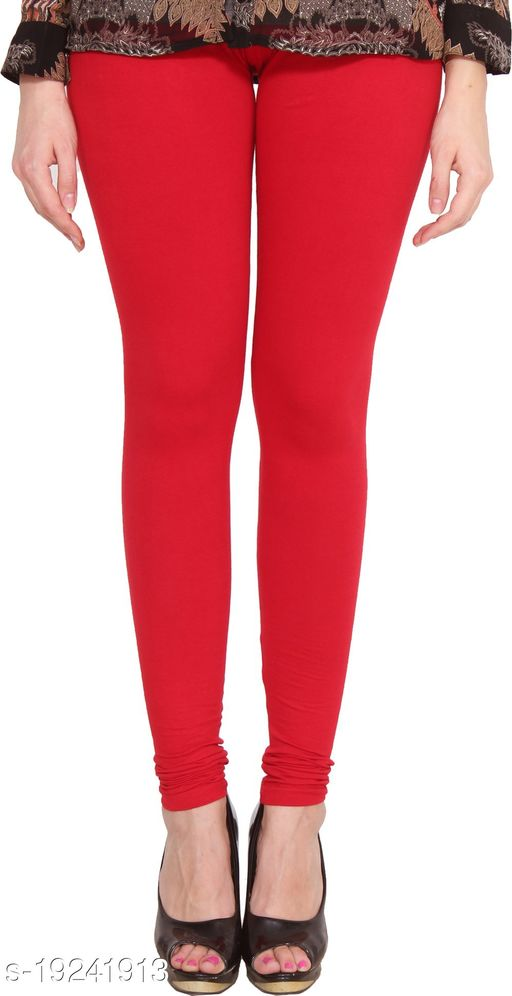 City Fashion Women's Solid Red Cotton Lycra Blend Churidar Leggings (30 to 38)