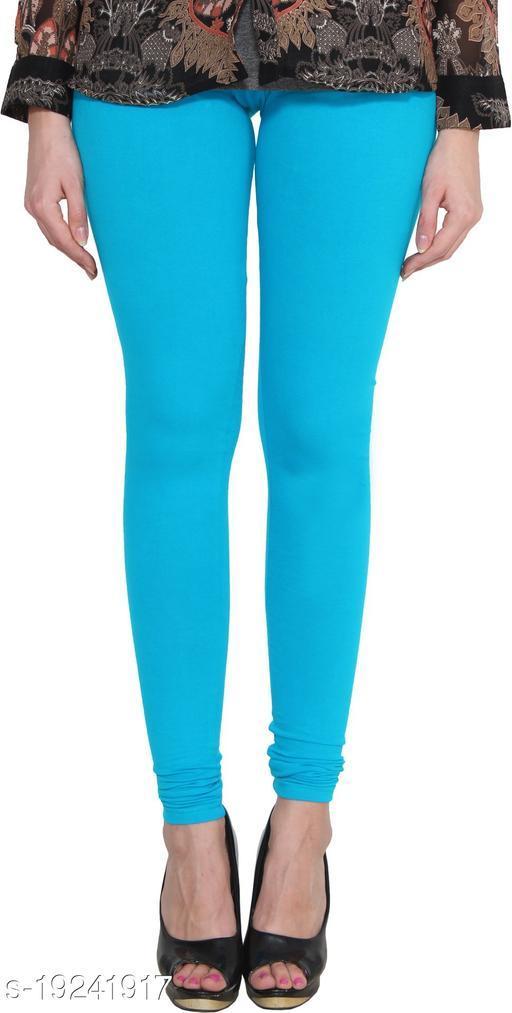City Fashion Women's Solid Sky Blue Cotton Lycra Blend Churidar Leggings (30 to 38)